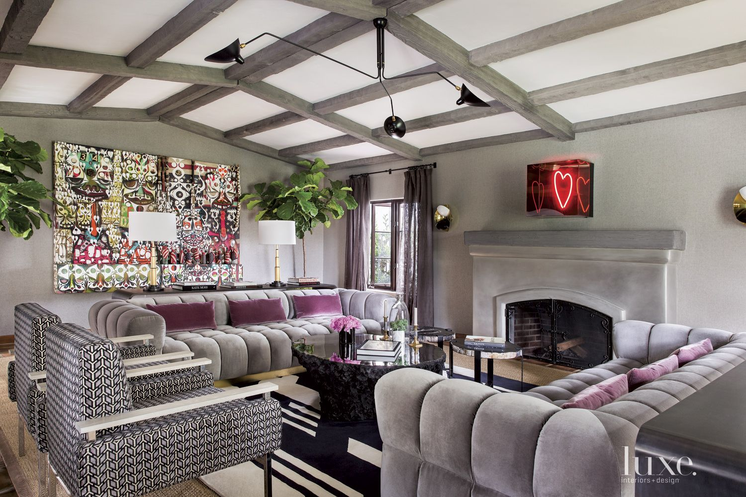 Spanish Colonial Gray Living Room with Purple Accents