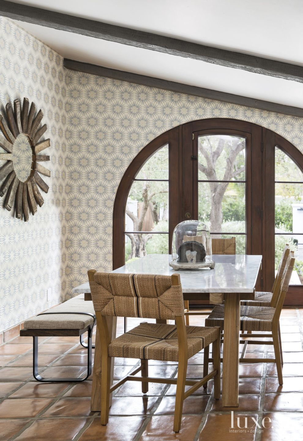 Spanish Colonial Neutral Breakfast Area with Patterned Wallpaper