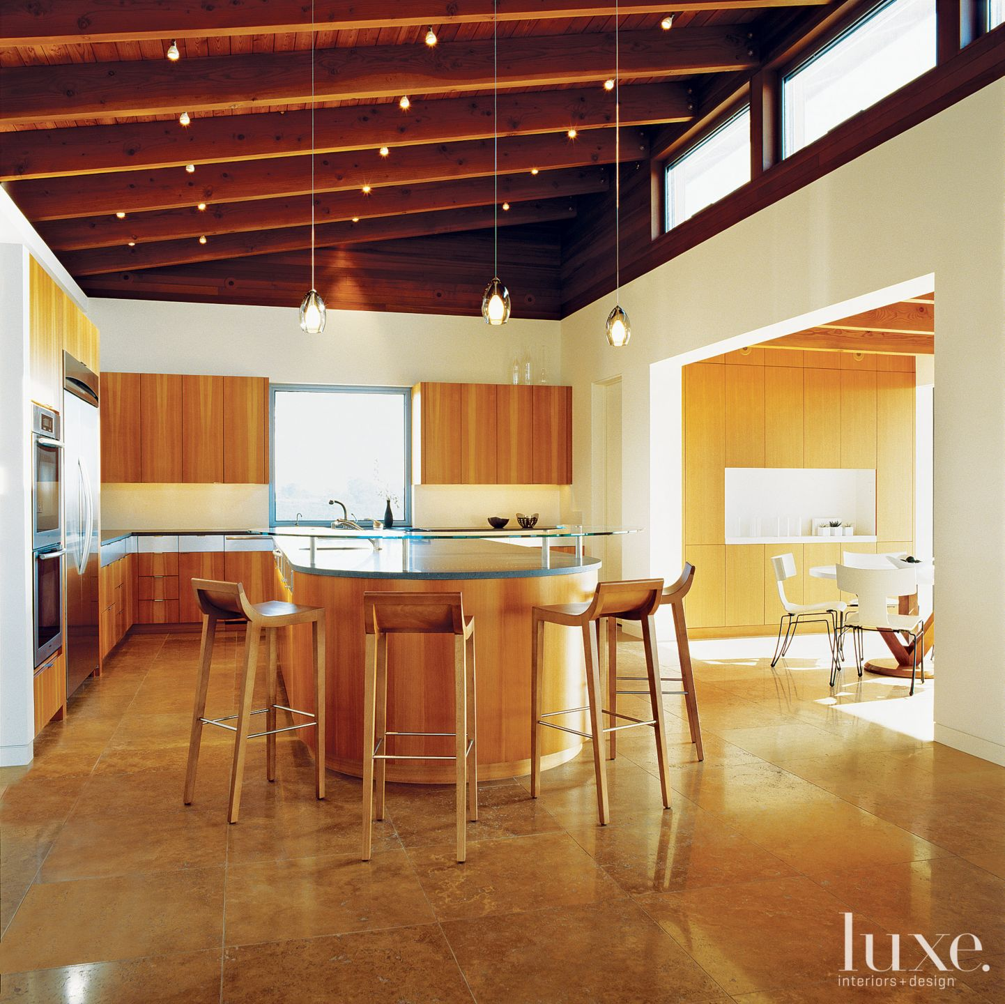 Modern Cream Kitchen with Sloped Ceiling