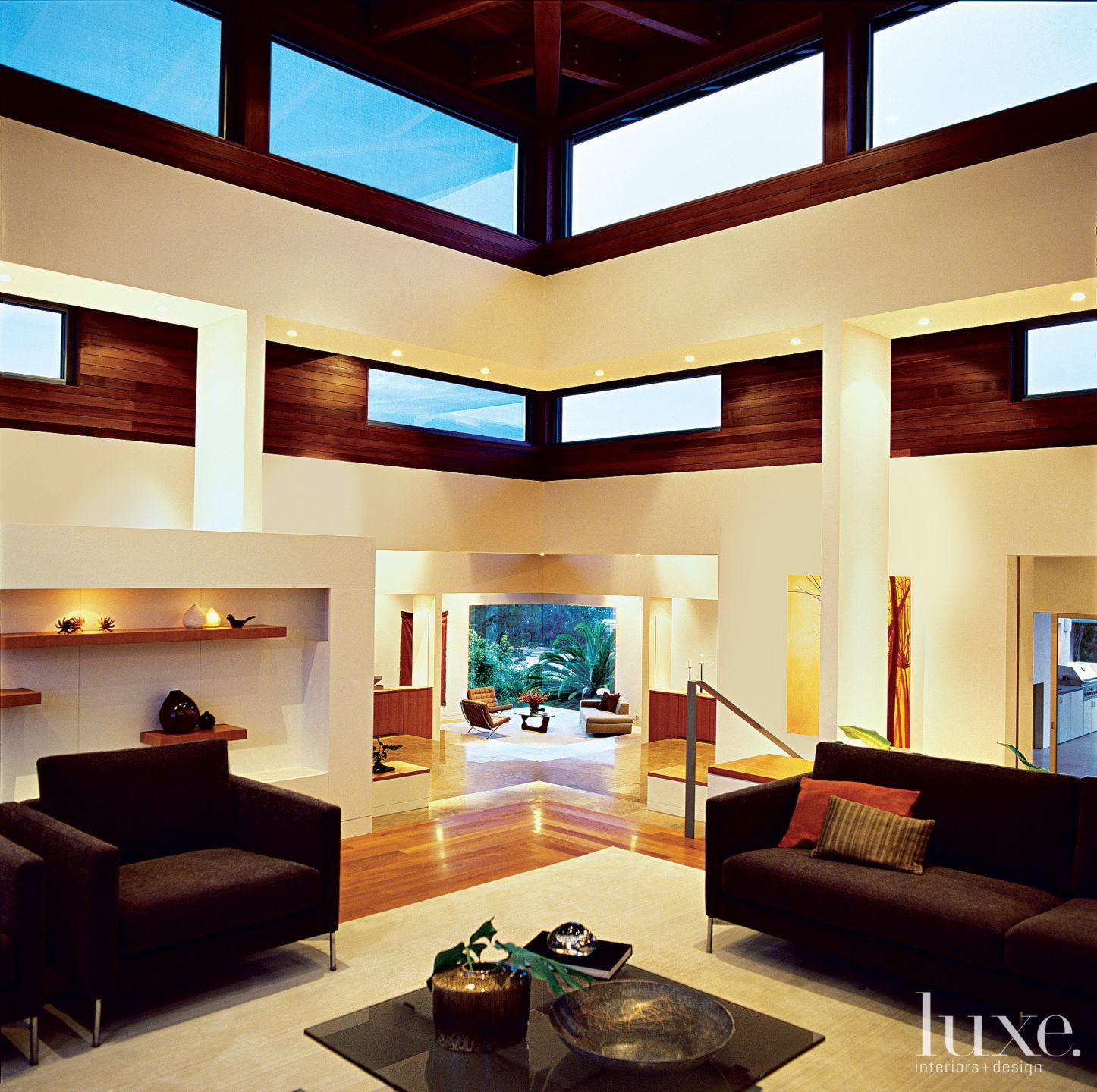 Modern White Living Room Clerestory Windows
