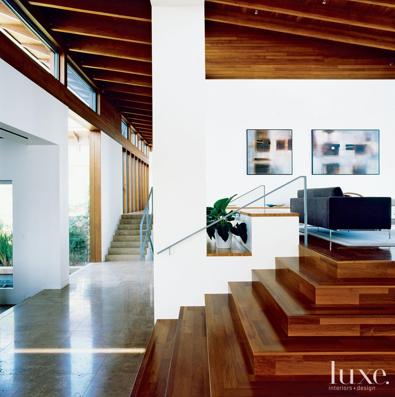 Modern White Hallway Half Staircase