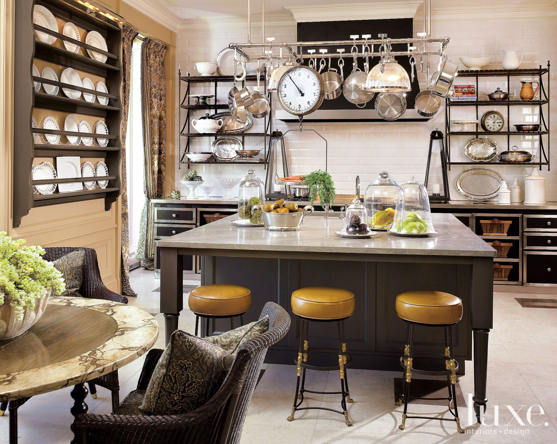 Traditional Neutral Kitchen with Yellow Barstools