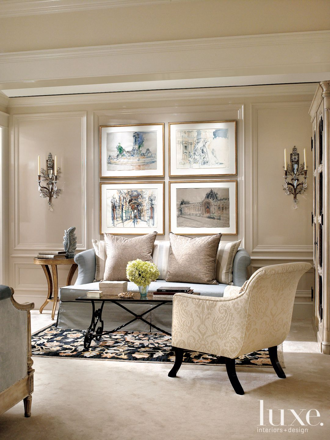 Traditional Neutral Sitting Area with Antique French Table
