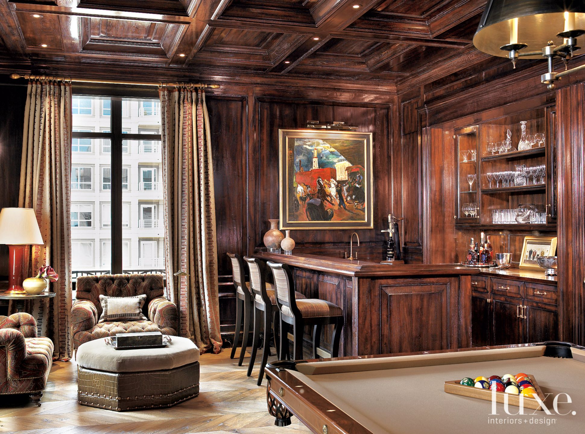 Traditional Brown Game Room with Glazed Millwork