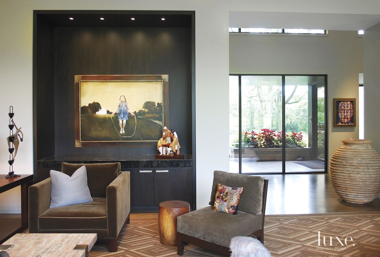 Contemporary Black Living Room Niche