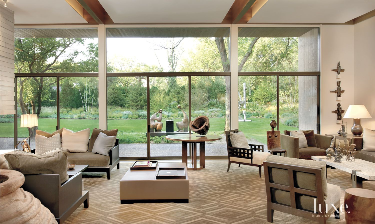 Contemporary Living Room with Floor-to-Ceiling Windows