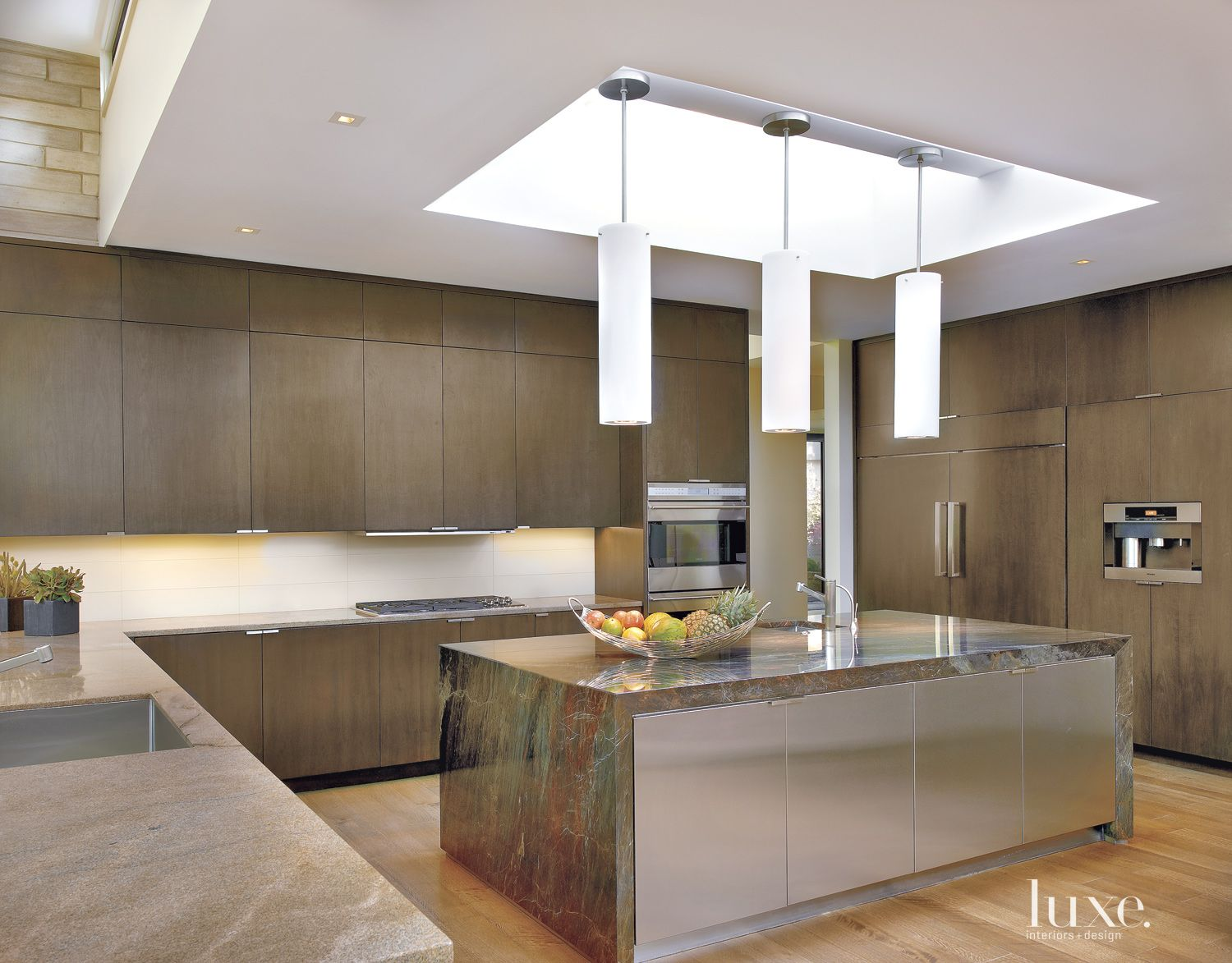 Modern Brown Kitchen with Stained Walnut Cabinetry