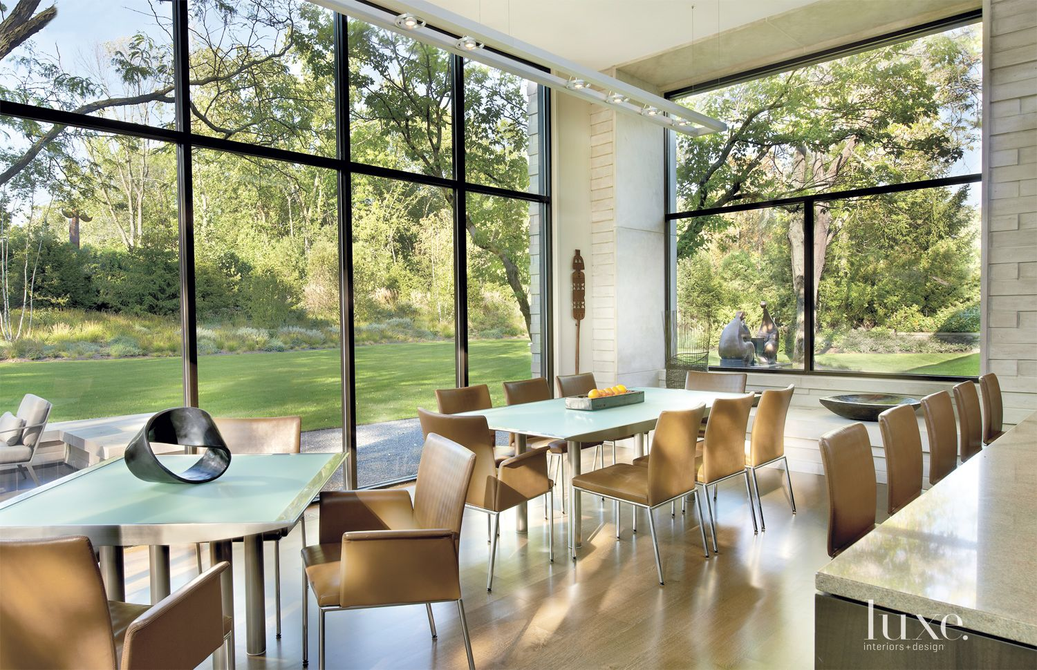Contemporary Cream Breakfast Area with Floor-to-Ceiling Windows