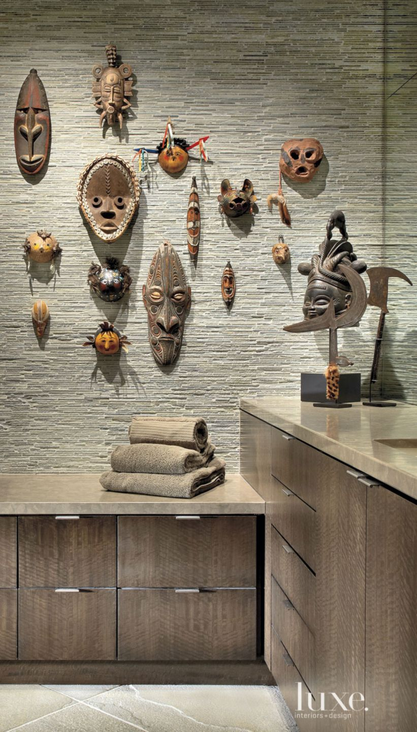 Contemporary Slivered Slate Wall with Ceremonial Masks
