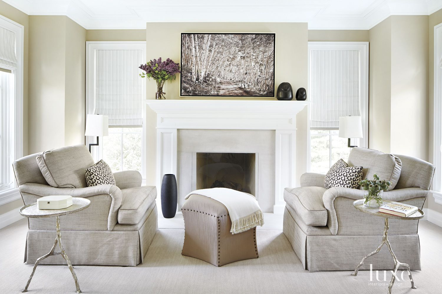 Traditional Neutral Sitting Area with Elegant Fireplace Mantel