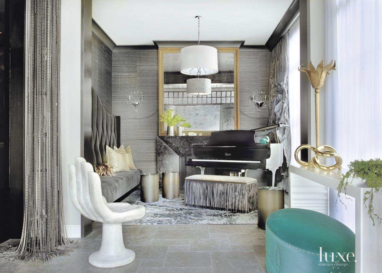 Eclectic Metallic Formal Living Room