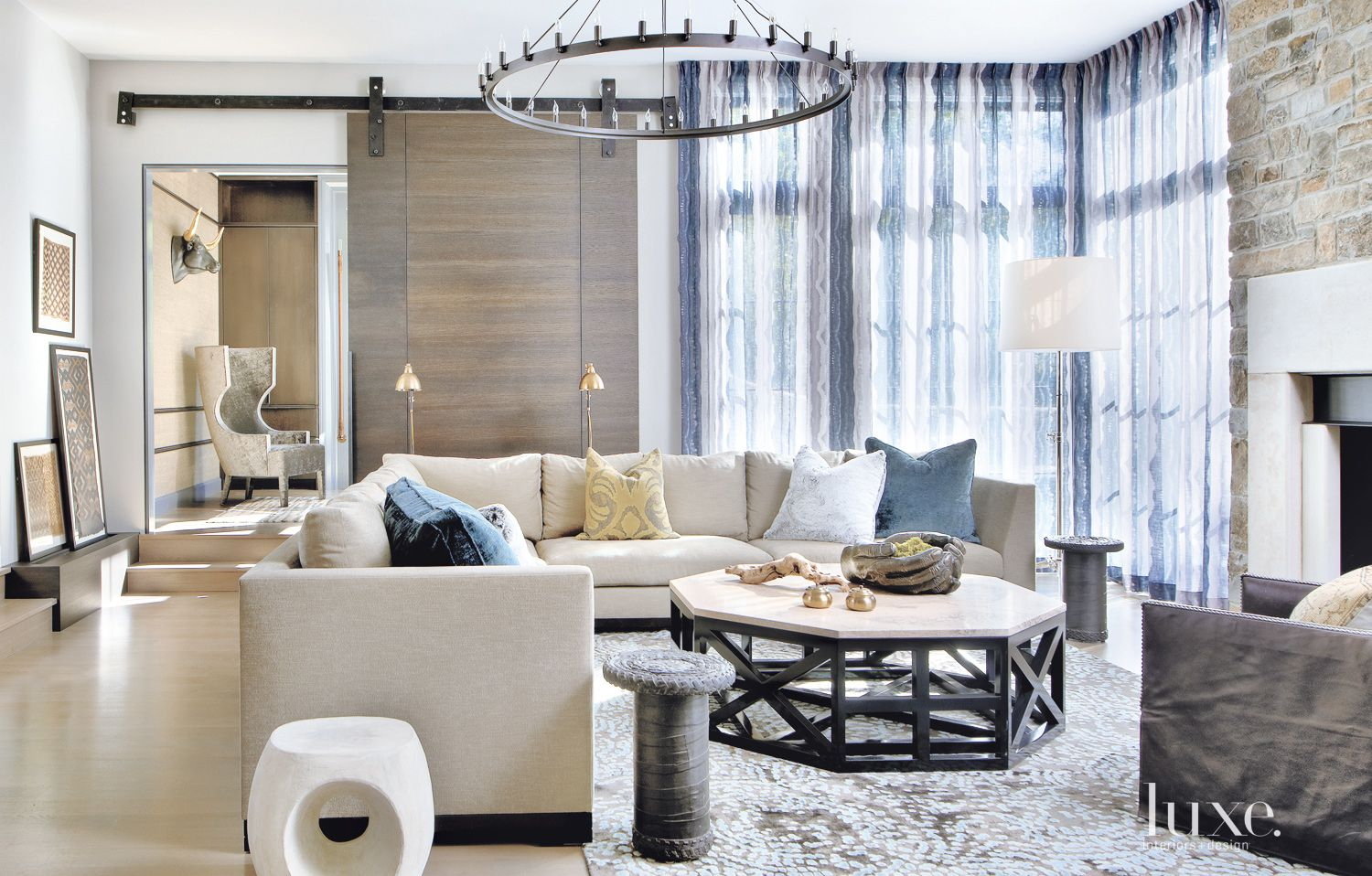 Contemporary White Sunken Family Room