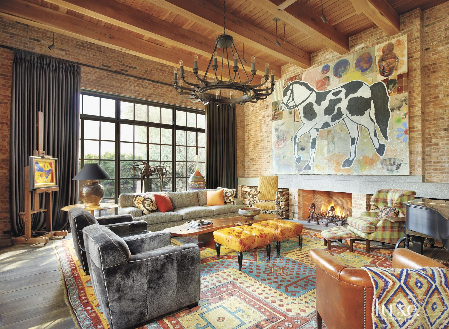 Large Horse Painting Eclectic Multi-Colored Living Room