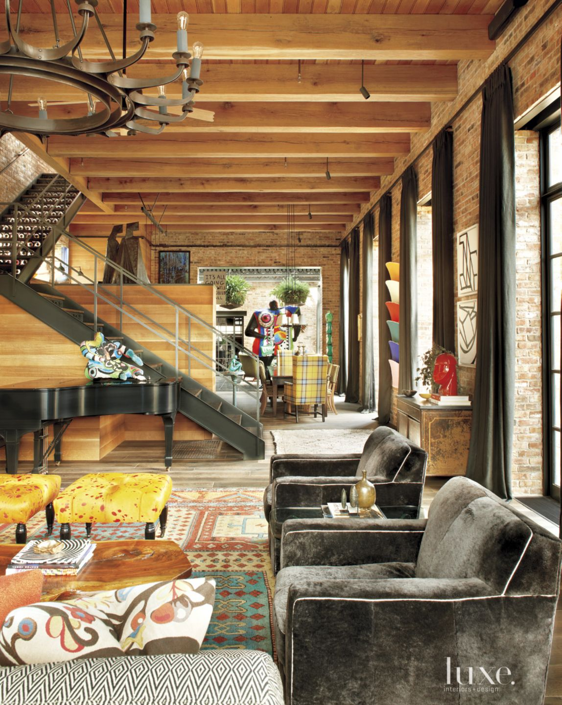 Eclectic Neutral Living Room Steel Staircase