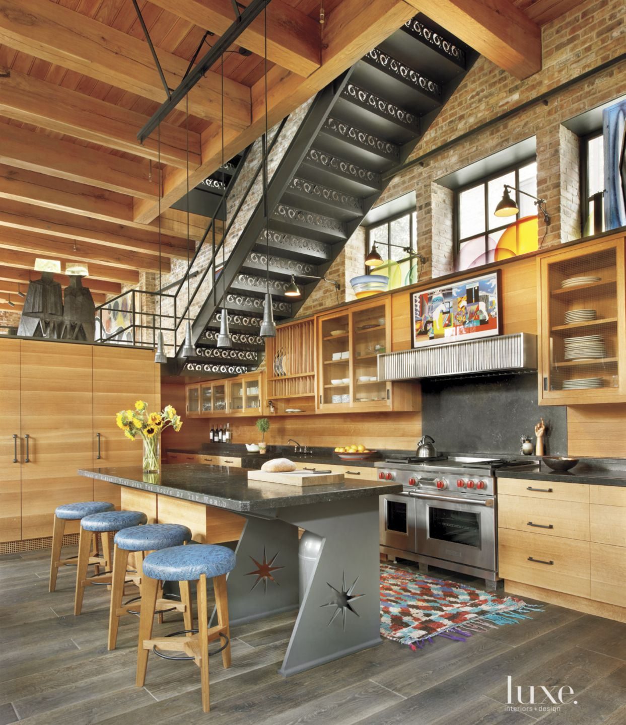 Eclectic Neutral Kitchen with Oak Cabinetry