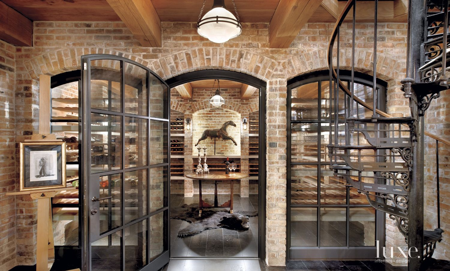 Eclectic Neutral Wine Cellar with Industrial Doors