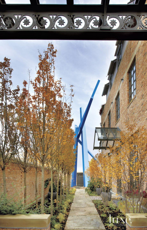 Eclectic Blue Courtyard Sculpture