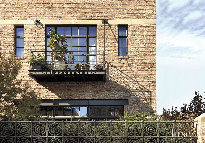 Eclectic Brick Exterior Balcony