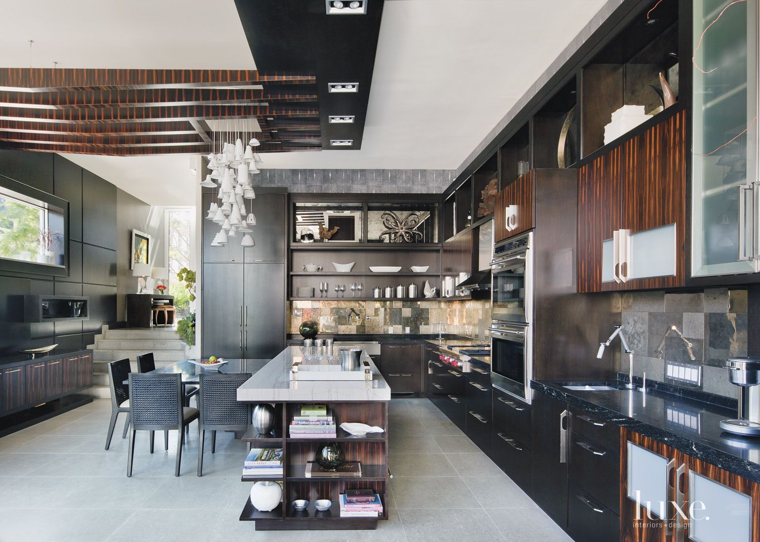 Contemporary Kitchen With Dark Cabinetry