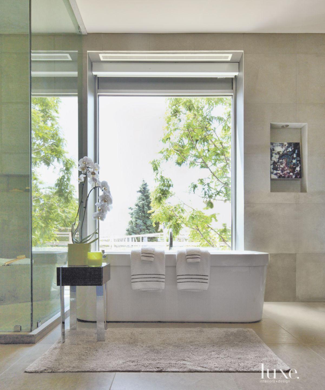 Modern Limestone Master Bath