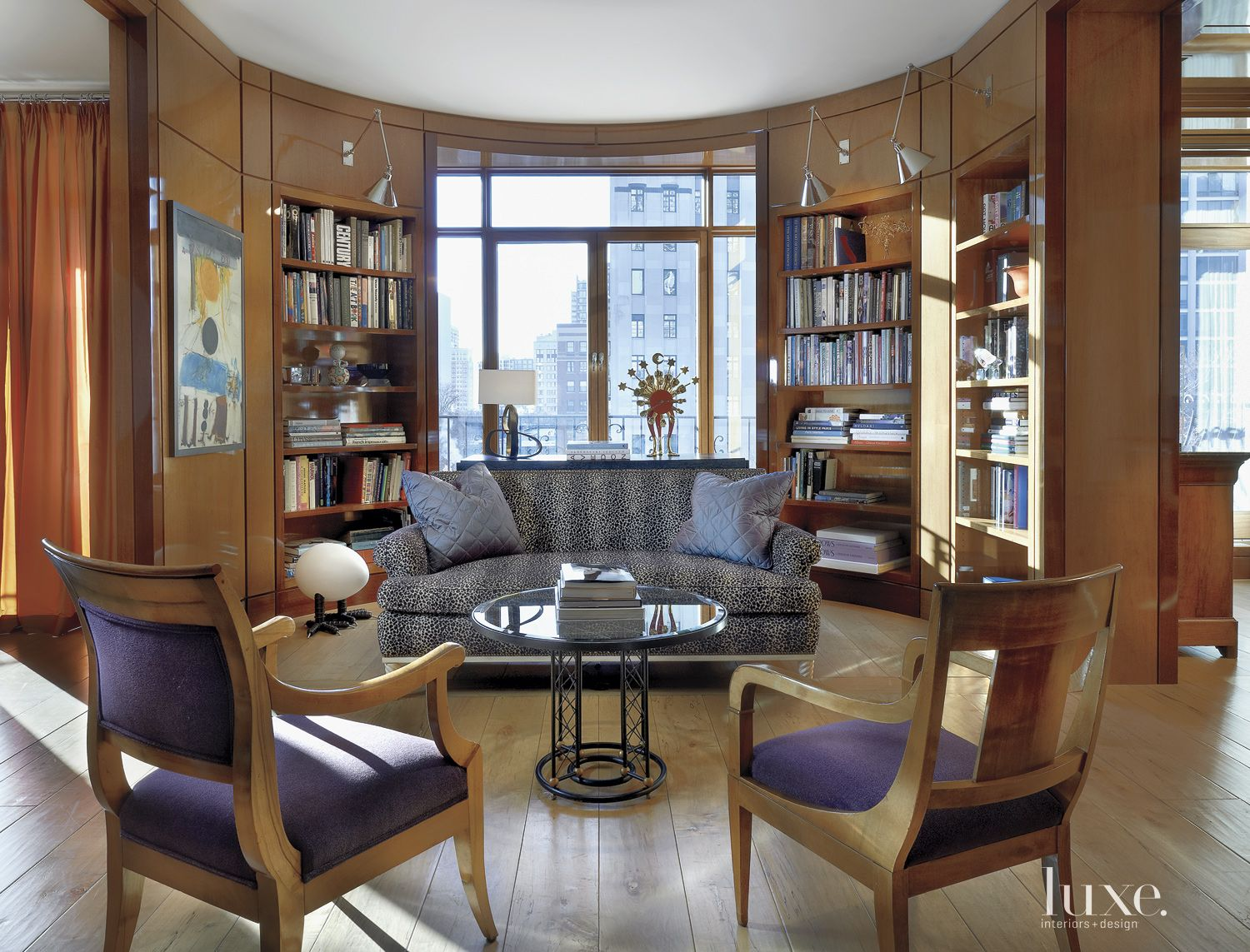 Eclectic Neutral Library with City Views