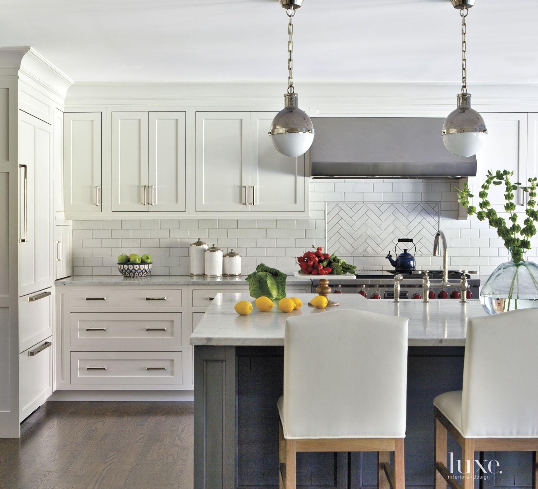 Contemporary White Kitchen with Subway Tile Backsplash