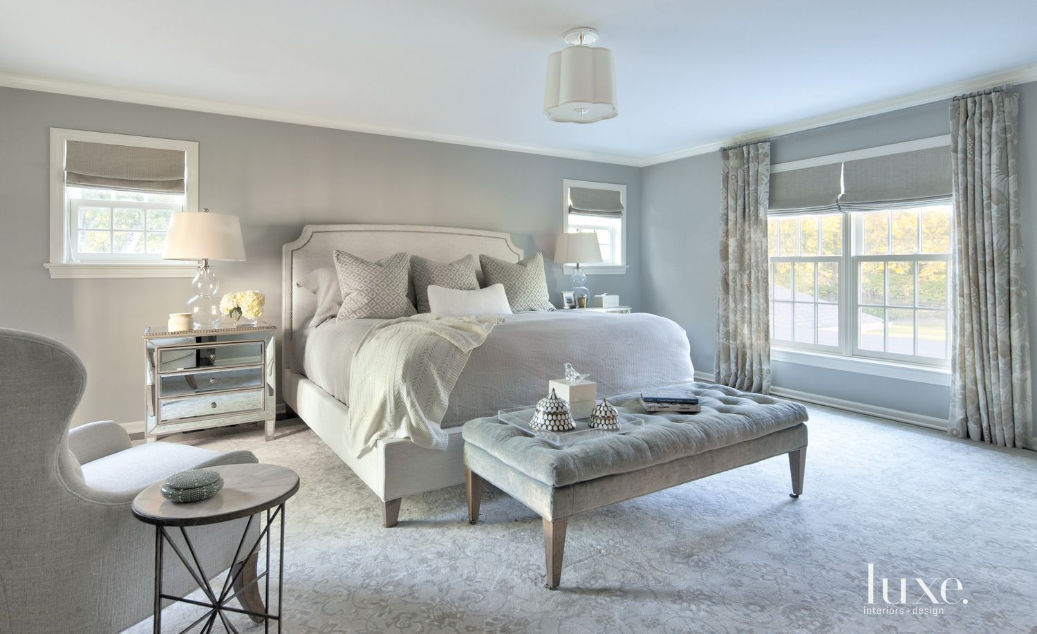 Transitional Gray Bedroom with Mirrored Nighstand