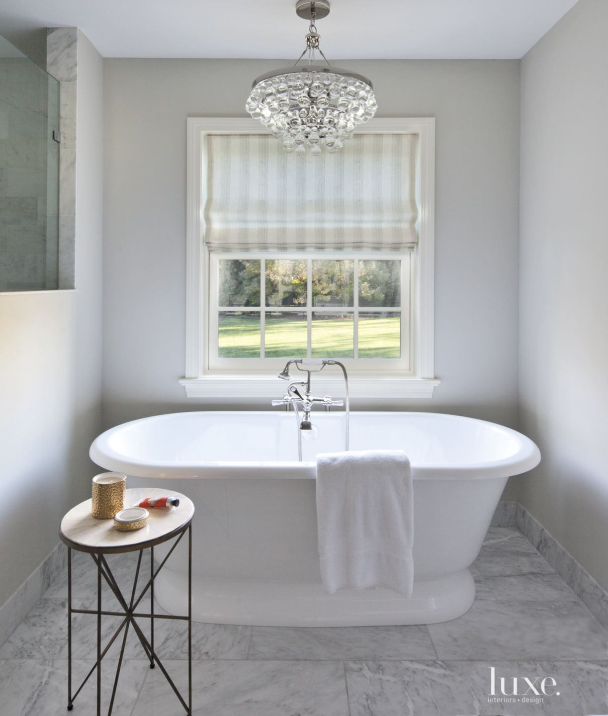 Contemporary White Bathroom with Glass Chandelier