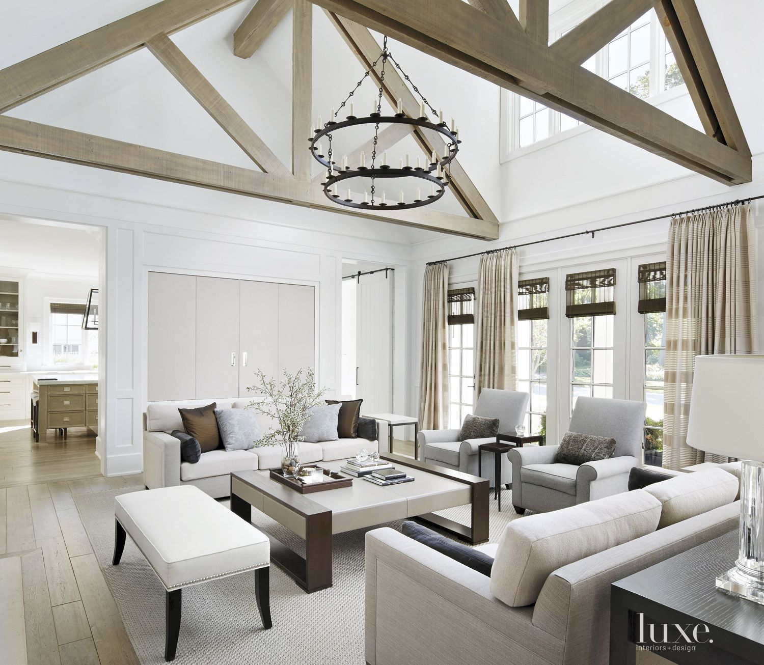 Transitional White Great Room with Custom Coffee Table