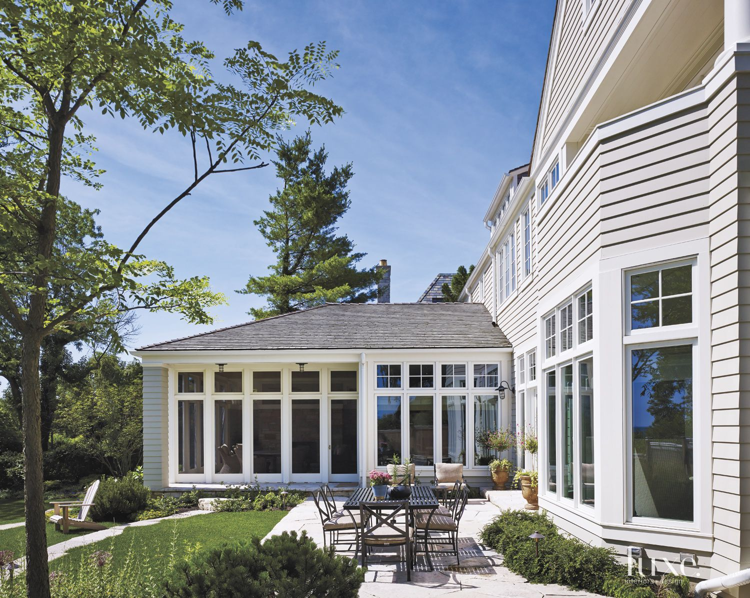 Transitional Exterior with Outdoor Dining Set