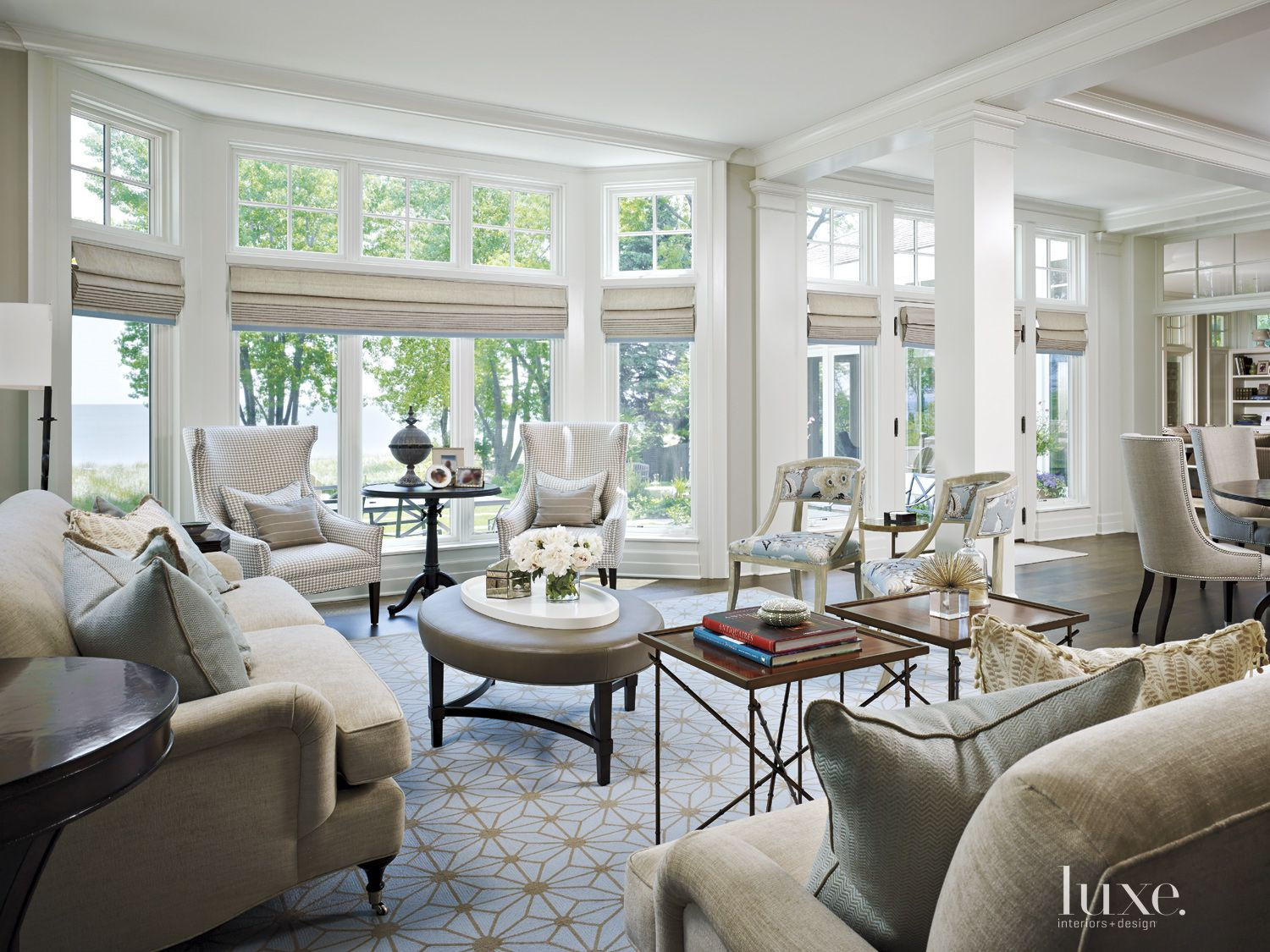 Transitional White Living Room with Geometric Area Rug