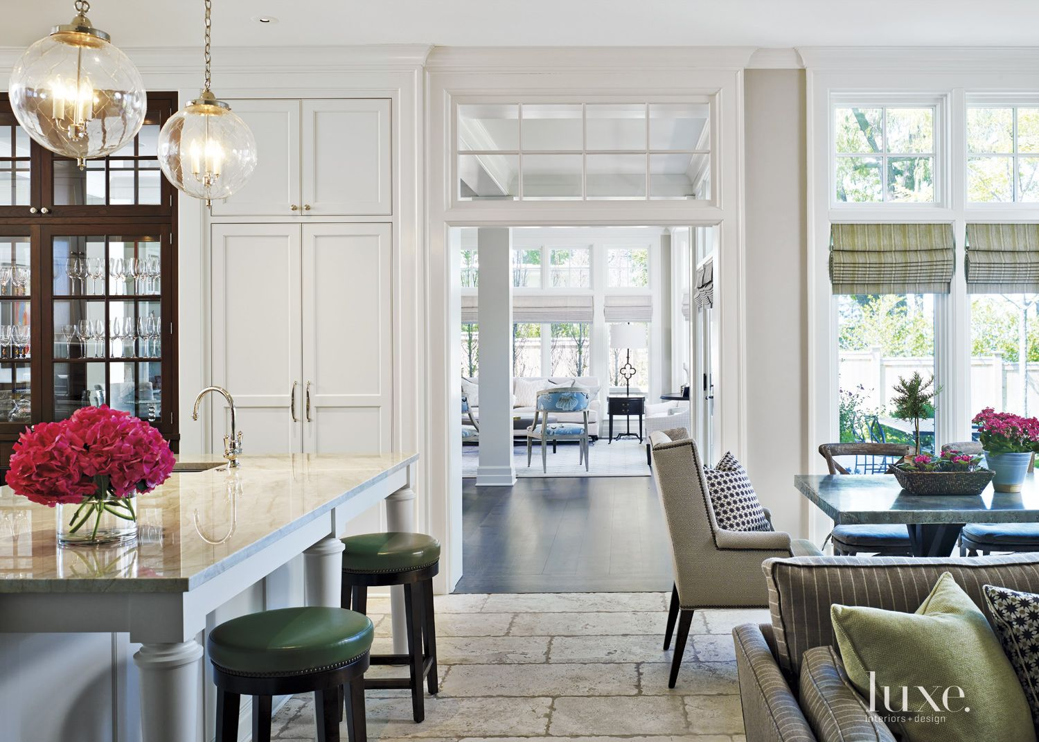 Transitional White Kitchen with Stone Flooring