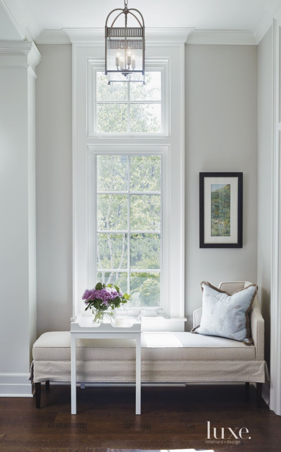 Transitional White Entry Detail with Upholstered Bench