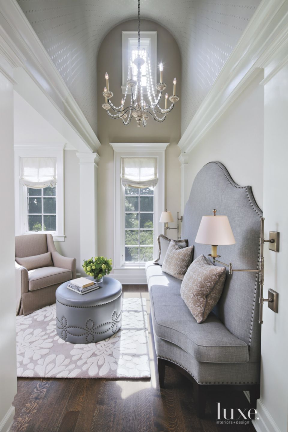 Transitional White Sitting Area with Barrel-Vault Ceiling