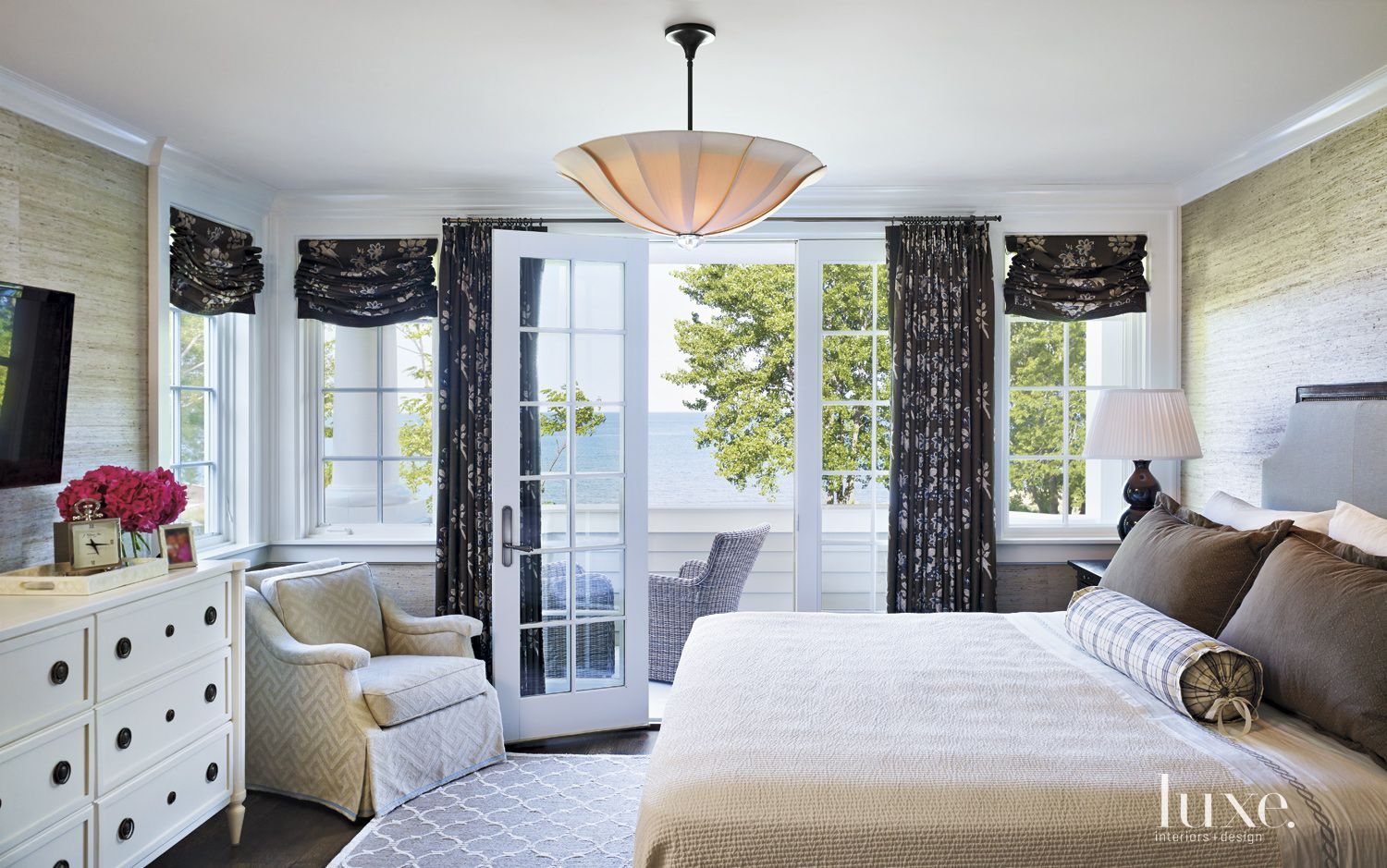 Transitional White Bedroom with Grass-Cloth Wallcovering