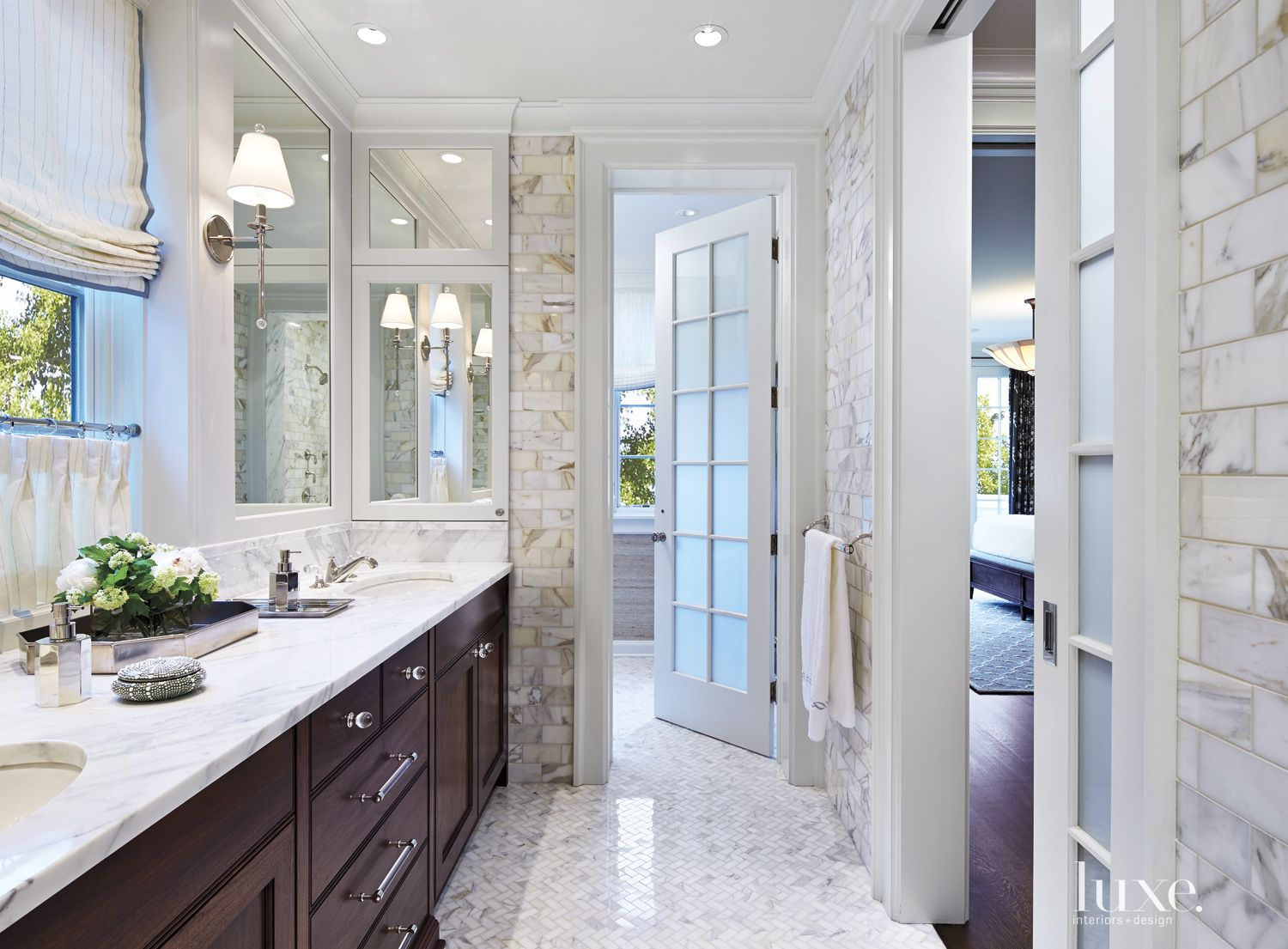Transitional White Bathroom with Marble Tile Walls