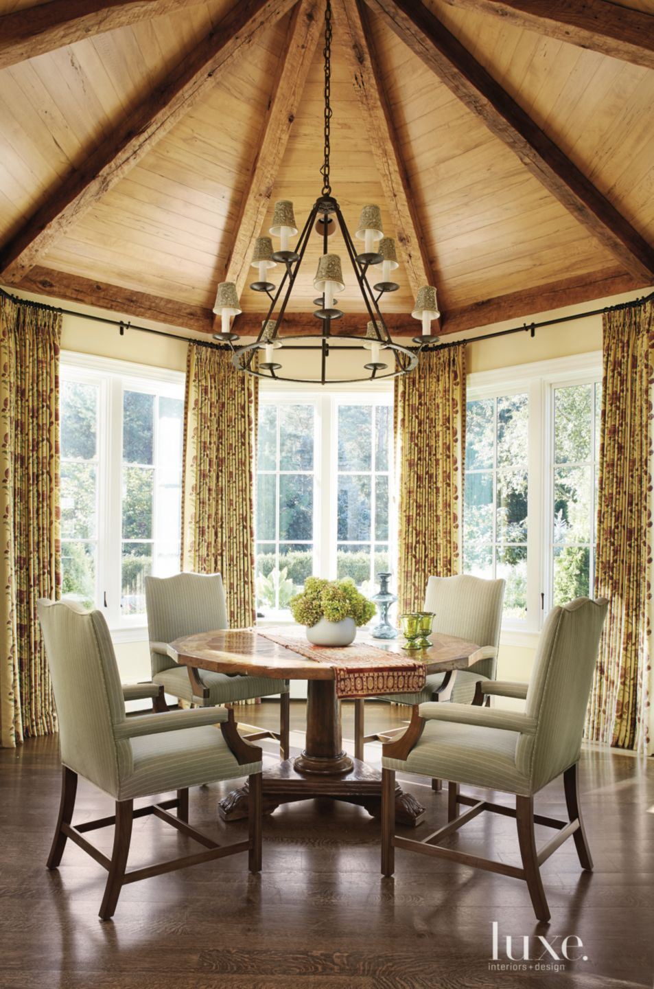 Transitional Neutral Breakfast Room with Bay Window