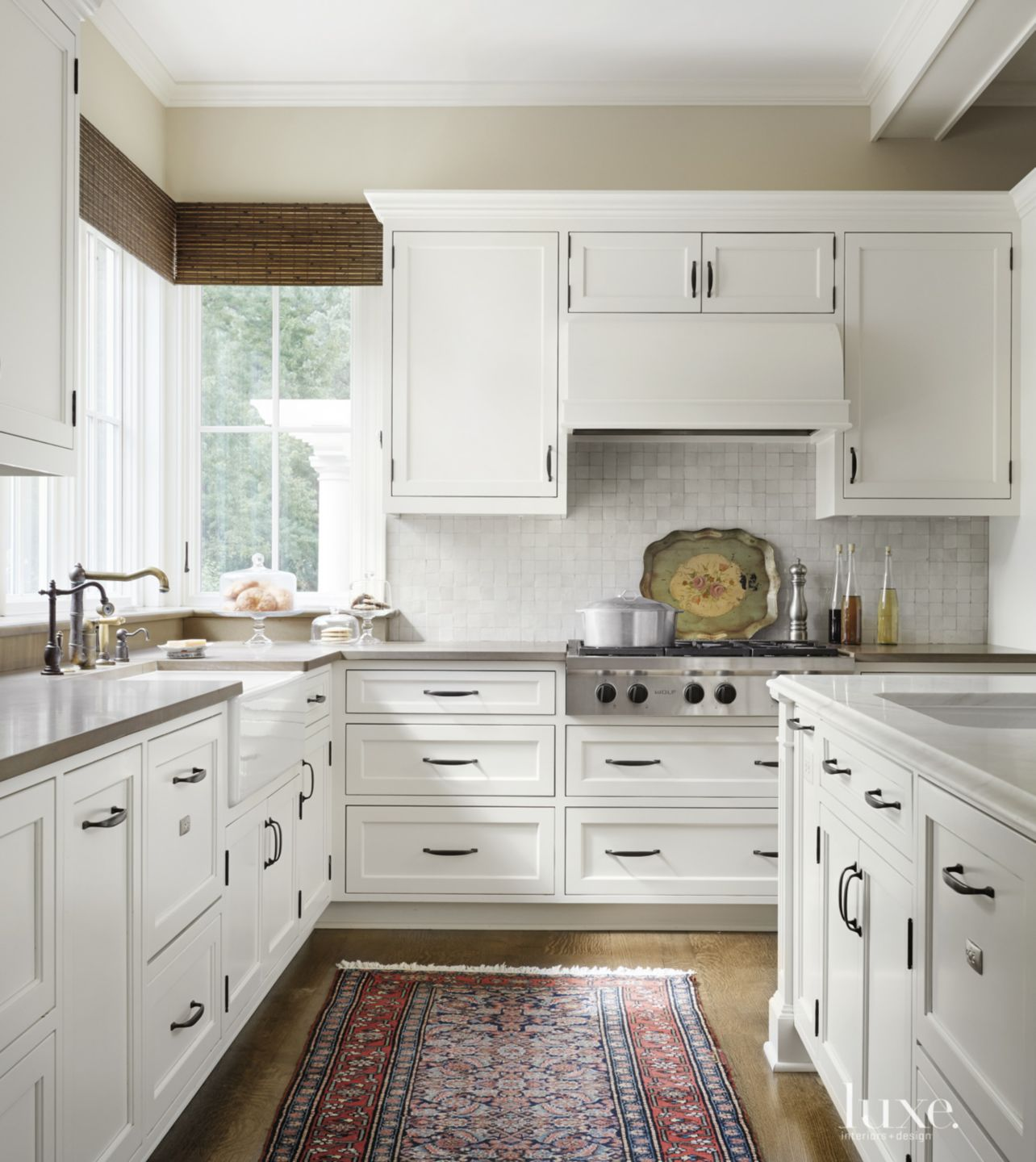 Transitional White Kitchen with Moroccan Tile Backsplash