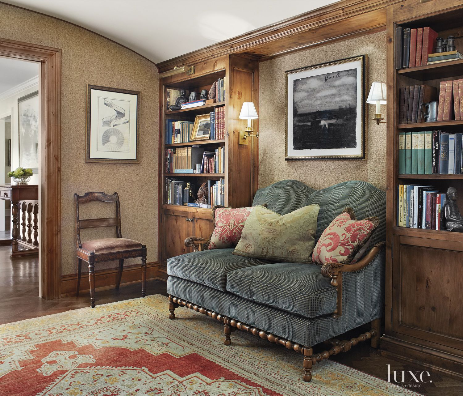 Transitional Neutral Library with Vaulted Ceiling