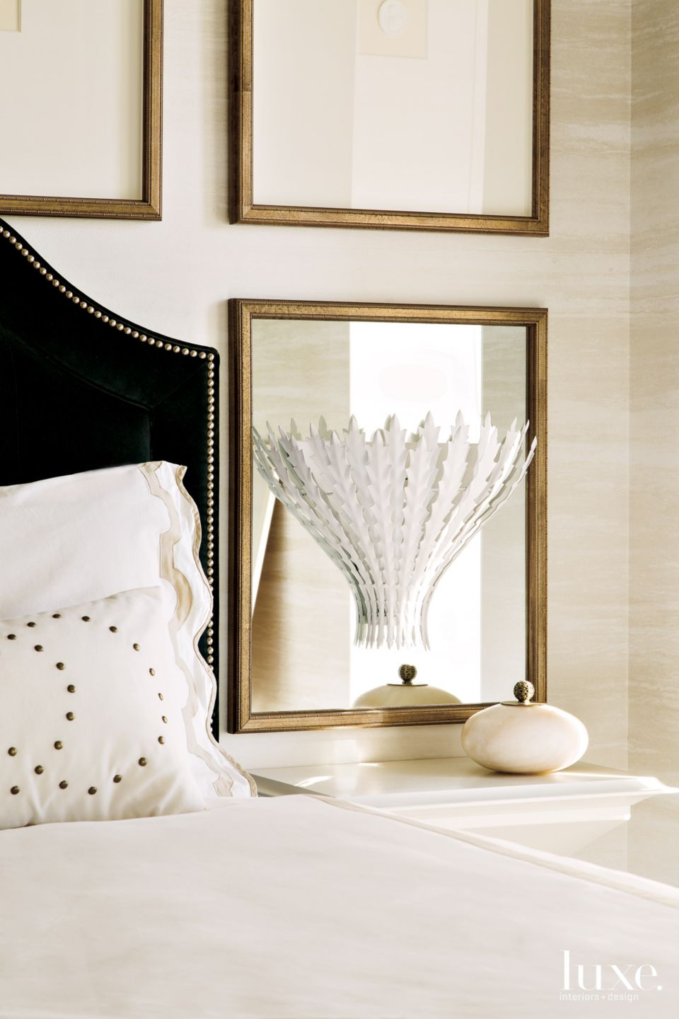 Traditional Cream Master Bedroom with White Linens