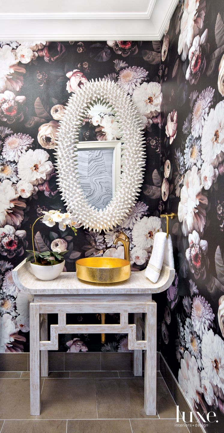 Eclectic Multi-Color Powder Room with Floral Wallpaper