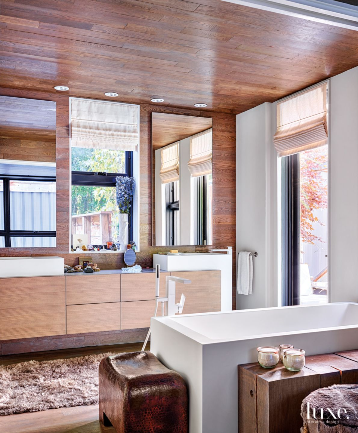 Modern Brown Bathroom with Burnished-Oak Cabinetry