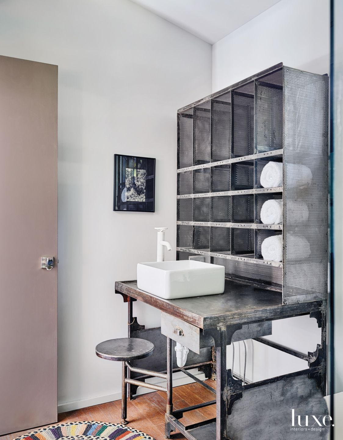 Modern White Bathroom with Repurposed Industrial Pieces