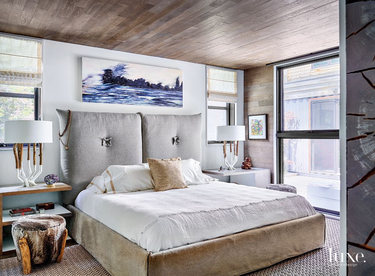 Modern White Master Bedroom with Recycled Shoelace Rug