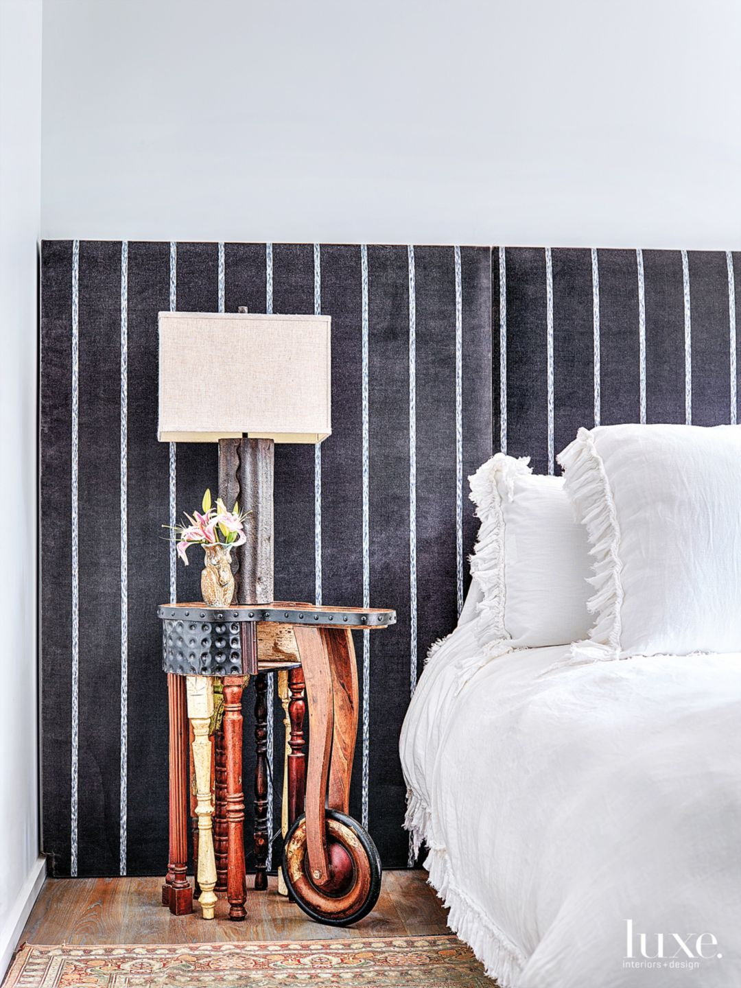 Modern White Bedroom with Mixed-Media Nightstand