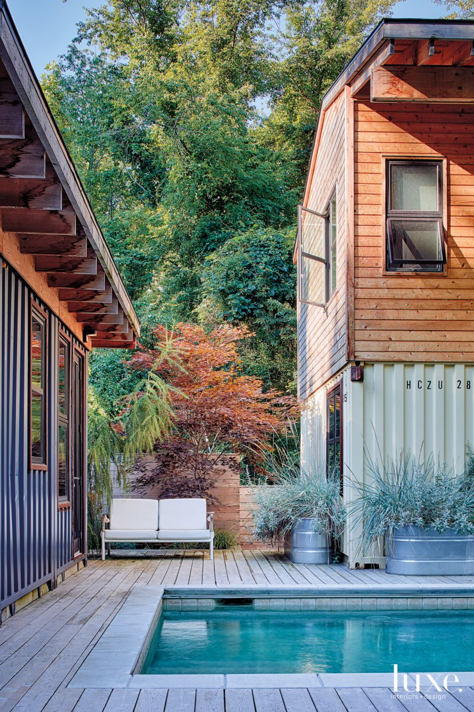 Modern Neutral Courtyard with Shipping Container Surround