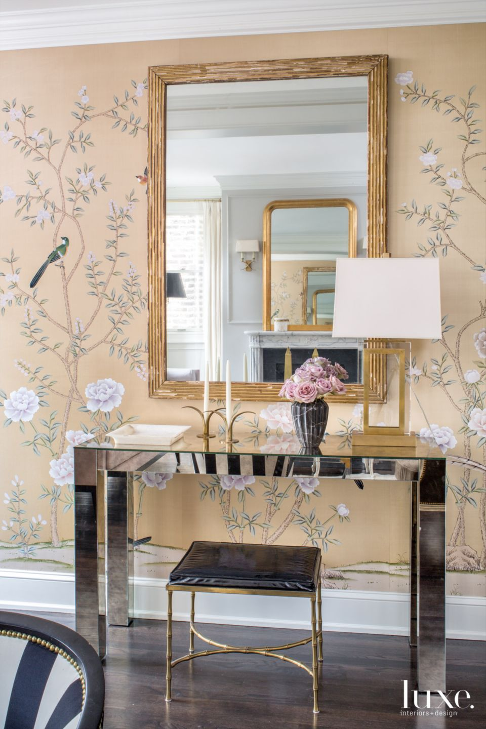 Traditional Pink Entry with Hand-Painted Silk Wallpaper