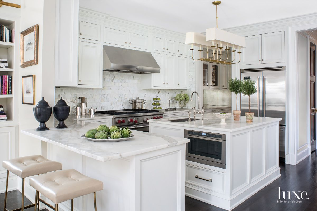 Traditional White Kitchen with Custom Leather Stools