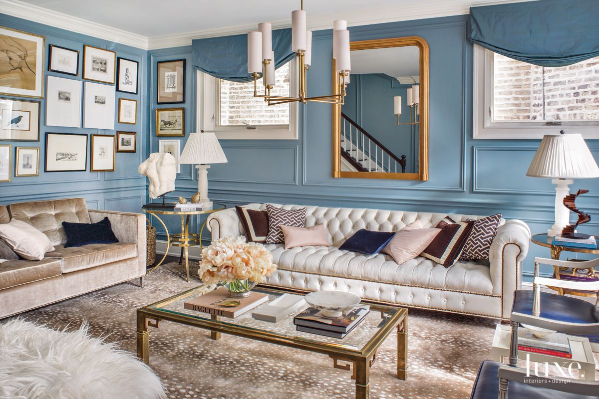 Traditional Blue Media Room with Tufted Sofa