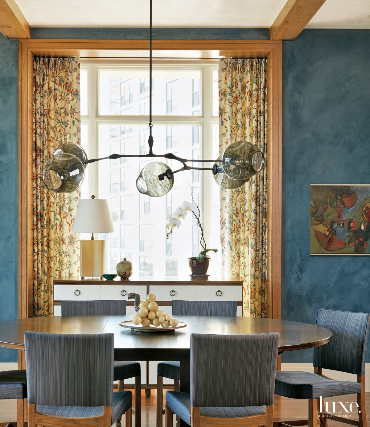 Transitional Blue Dining Room with Horsehair Chairs